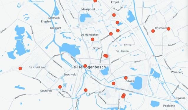 Op de kaart kun je zien waar in Den Bosch er allemaal UFO's zijn gespot. De rode stippen zijn de meldingen over een periode van 2010 tot nu.