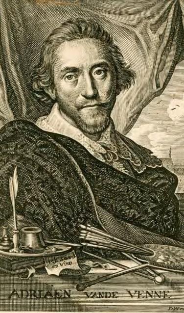 Adriaen van de Venne (1589-1662), schilder, graveur en dichter te Middelburg.    Bron: Zeeuws Archief, Zeeuws Genootschap, ZI deel IV nr 892
