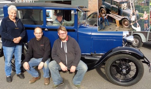 Ans, Manfred, Adriaan Elsenaar en achter het stuur Tinus. Foto: Roy Visscher. Inzet: De auto wordt de achtertuin in getakeld (1987).