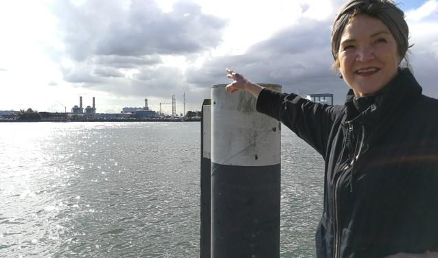 Dike Hof op de Maasboulevard en wijzend naar de plek aan de overkant, waar haar neo kunstwerk komt te staan (Foto: Peter Spek).