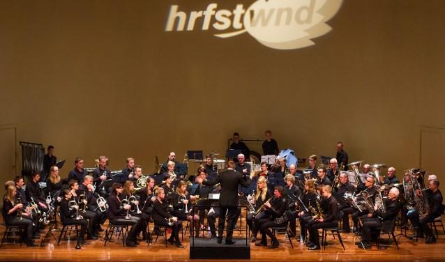 Eendracht Aalten onder leiding van dirigent Egbert van Groningen tijdens een eerdere opvoering binnen de reeks HRFSTWND-concerten.
