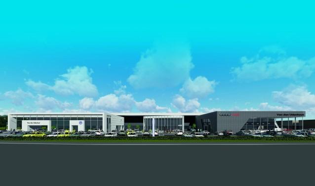 Op de nieuwe locatie van Autobedrijf Van den Udenhout in Den Bosch komen meerdere showrooms, het schadeherstelbedrijf, het bedrijfswagen inbouwcentrum en de werkplaats van de toekomst.