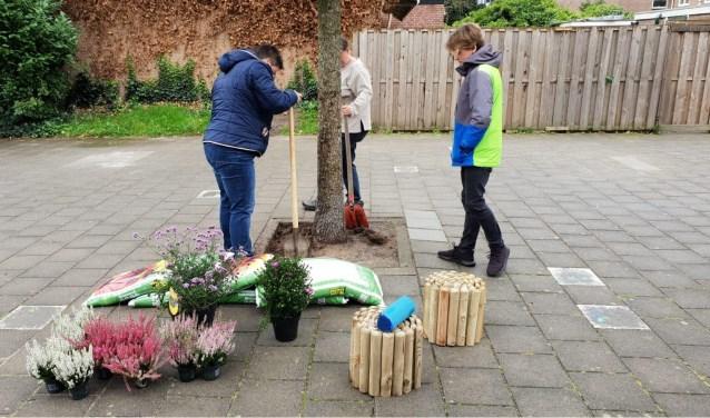 De gemeente en Rova ondersteunen de bewoners met materiaal, een bijdrage en een beetje hulp voor het grove werk zoals het weghalen van tegels en het snoeien van het stuk gemeentegroen.