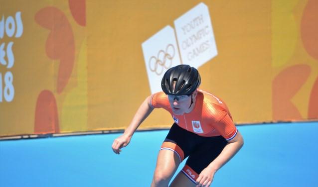 Marit in actie tijdens de Jeugd Olympische Spelen. (Foto: Richard Schoonderwoert)