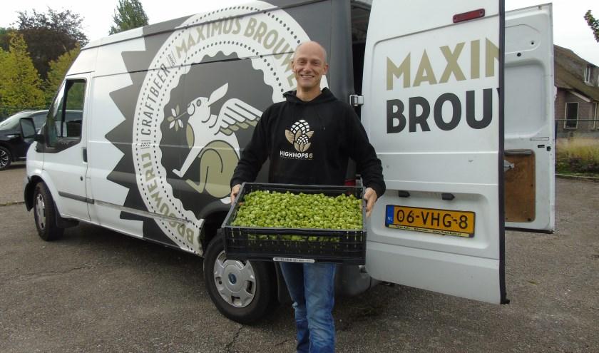 Van de hopoogst uit het Maximapark wordt het bekende bier Maximus gebrouwen. Foto Hans Peter van Rietschoten.