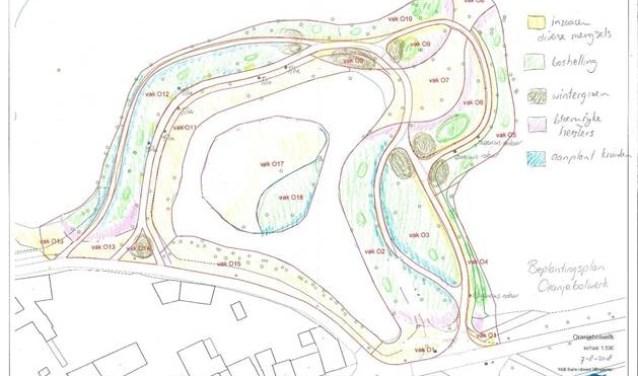 Beplantingsplan Oranjebolwerk. Bron: gemeente Zaltbommel