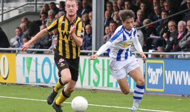 Spelmoment uit de omtmoeting van vorig seizoen tussen FC Lienden en Rijnsburgse Boys