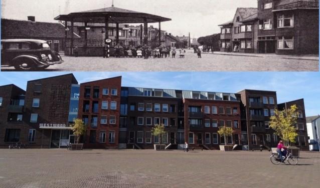 De expositie toont 120 panelen waarop foto's van het straatbeeld toen en nu te zien zijn. Zo ook van de Markt, het huidige Anton Pieckplein.