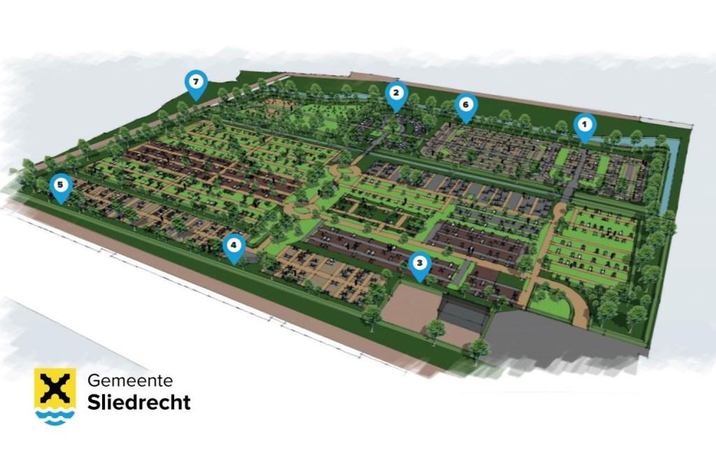 Op de tekening staat de begraafplaats en de zeven mogelijkheden die onderzocht zijn. Foto:  © Persgroep