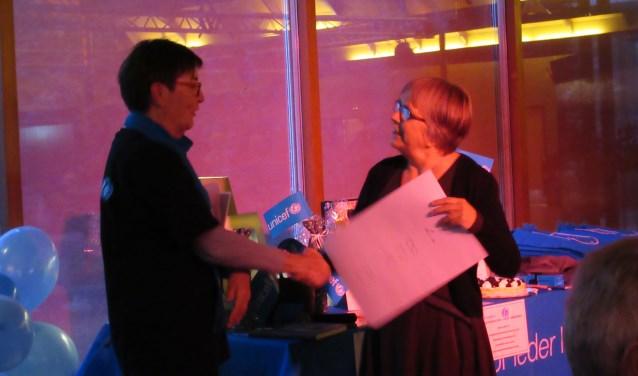 Wolters van ABC overhandigt de cheque aan Bolhaar van Unicef (l)