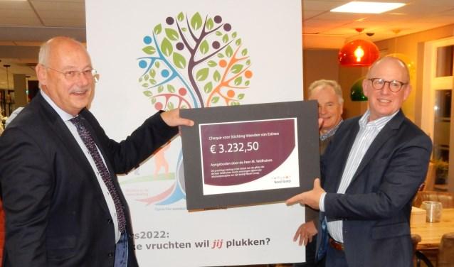 Martin Veldhuizen (links) overhandigd de cheque aan Henk Hartemink (rechts), de nieuwe voorzitter van Stichting Vrienden van Estinea.