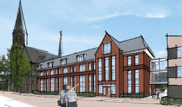 In de linkervleugel met woon-zorg appartementen is de oude meisjesschool te herkennen. (Afbeelding: Careaz)