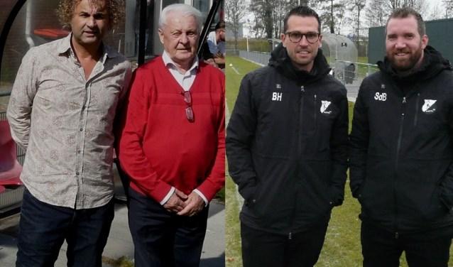 Cion-trainers Najim Nasri en Slobodan Dutina en hun DVO'32-collega's Ben Hoogwerf en Semjon de Bruijne (vlnr) hebben zaterdag de strategische touwtjes in handen. (Foto's: Persgroep/gsv)