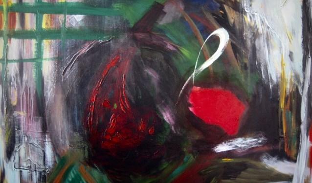 'Zonder titel', op doek 120x80 door Hans Niessen.