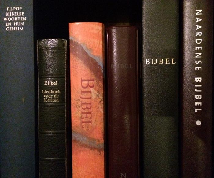 Enkele Bijbels op een rij naast een Bijbels woordenboek.