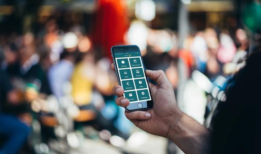 Het startscherm van de RSD-app. De app is een vraagbaak voor mensen uit de Liemers met een uitkering die op zoek zijn naar werk. (foto: PR)