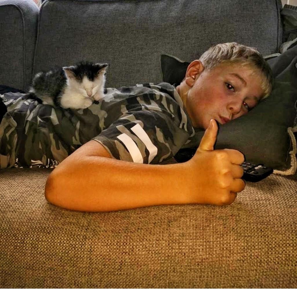 Kean zorgt er persoonlijk voor dat Marshall zijn dagelijkse hoeveelheid knuffels en aandacht krijgt. Foto: Jolanda / Kittens Wierden © Persgroep