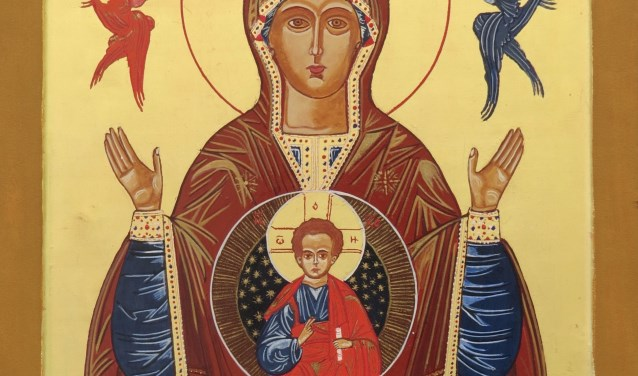 Icoon 'Moeder Gods van het teken'  naar Jesaja 7 vers 7-14 'De Heer zal u een teken geven, zie de maagd zal zwanger worden en een zoon baren en zijn naam zal Emmanuel zijn'