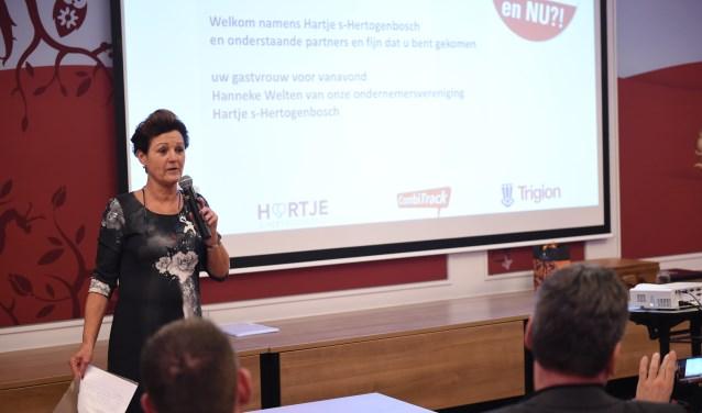 Secretaris van Hartje 's-Hertogenbosch Hanneke Welten sprak eerder dit jaar op een bijeenkomst voor centrumondernemers, waar de basis voor een nieuw CWO gelegd werd.