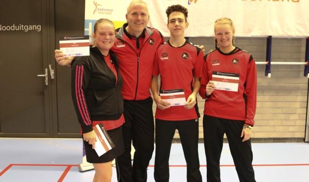BCRS spelers Suzan Bakker, Ron Vollenga, Milan Faro en Noëlla van der Zwaal pakken de 1e en 2e prijs in de GD8 Foto: BCRS © Persgroep