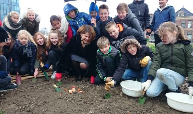Leerlingen van de Max Havelaarschool planten samen met de burgemeester hun bollen (foto: DelftBloeit).