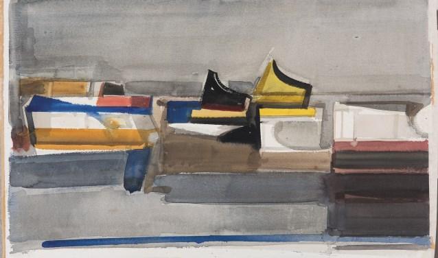 Theodoor Heynes, Schepen, ca 1975, aquarel, bruikleen particuliere collectie