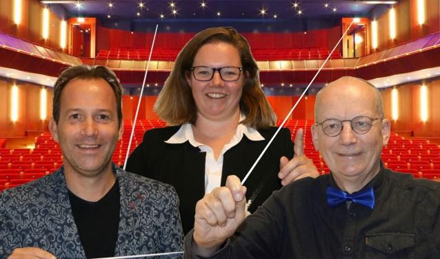 Marleen Kuipers-Smits, Martijn Willems (links) en Jos Janssen nemen het tegen elkaar op tijdens het maestroconcert in de schouwburg. (foto: Floris van Heukelom)
