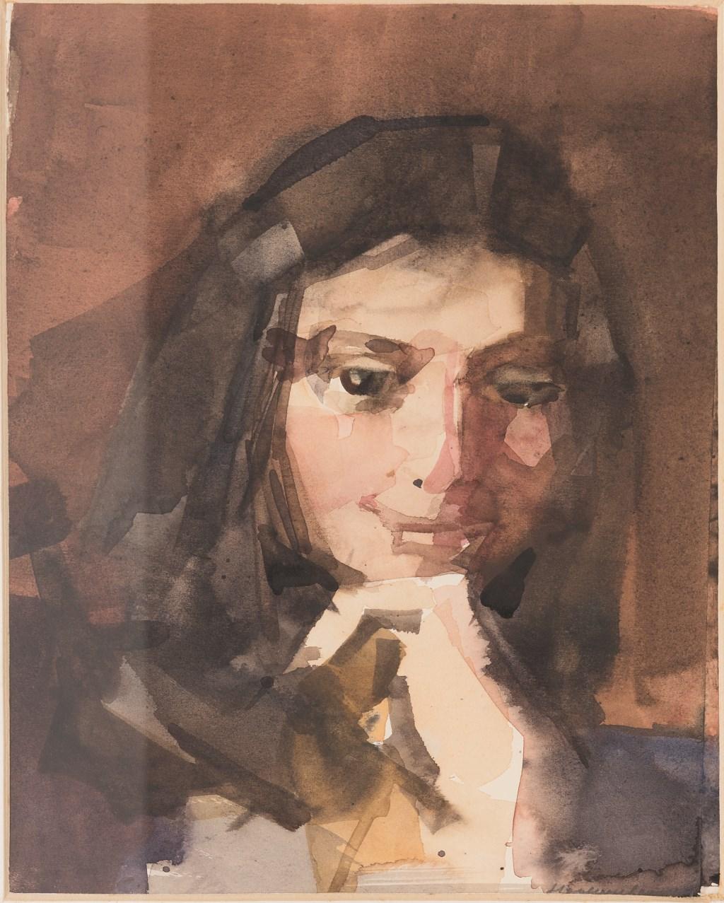 Theodoor Heynes, Portret Nina Benders, ca 1985, aquarel, bruikleen particuliere collectie Foto: Musea Zutphen © Persgroep