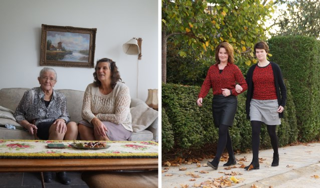 Links Jun Duijzer-Dijkhof en haar schoondochter Suzanne Duijzer. Rechts Hanneke van der Stam en haar tweelingzus Lise. Foto's: Marielle Pelle