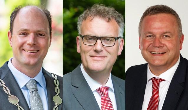 De burgemeesters Ryan Palmen (Hilvarenbeek), Hans Janssen (Oisterwijk) en Mark van Stappershoef (Goirle).