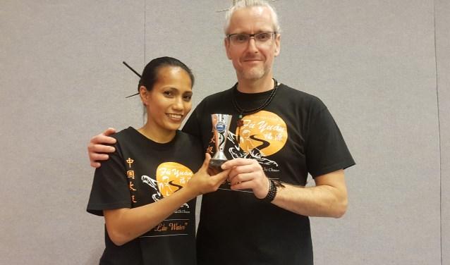 Argentina Cotcheza en Douwe Geluk met hun 2de plaats zilver