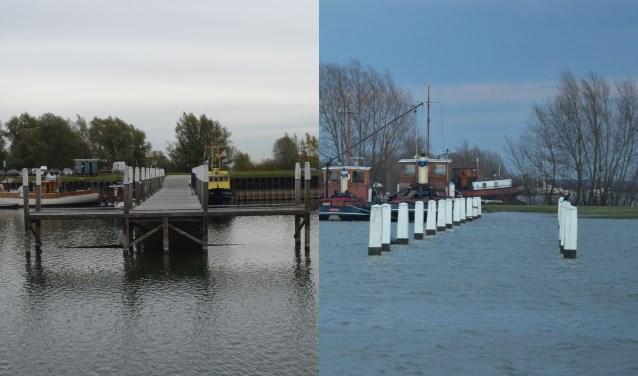 De vaste steiger in de Stadshaven bij laag water(l) en bij hoog water