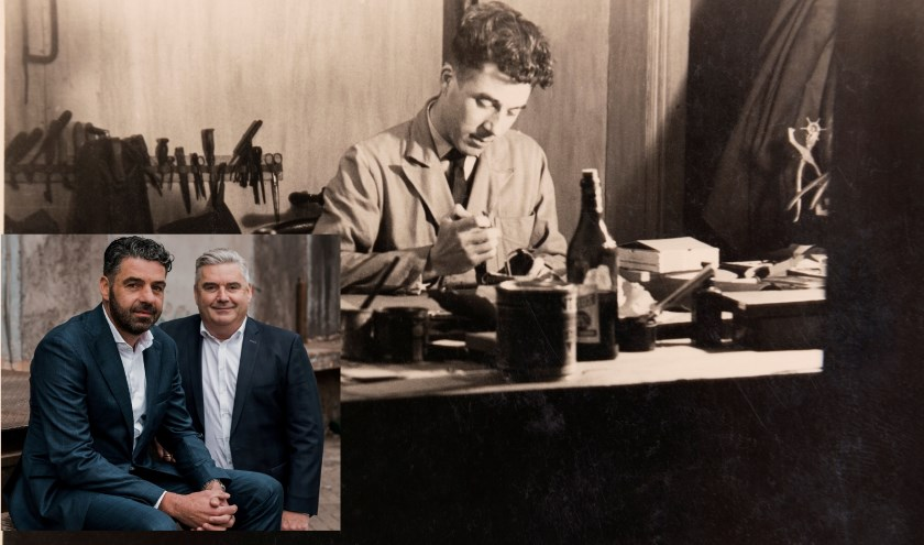 Al jong leerde Adrie Duifhuizen het vak en begon voor zichzelf. Inmiddels bestaat Duifhuizen Tassen & Koffers 65 jaar. Inzet: Theo (links) en Jan Duifhuizen. (foto: pr Duifhuizen)
