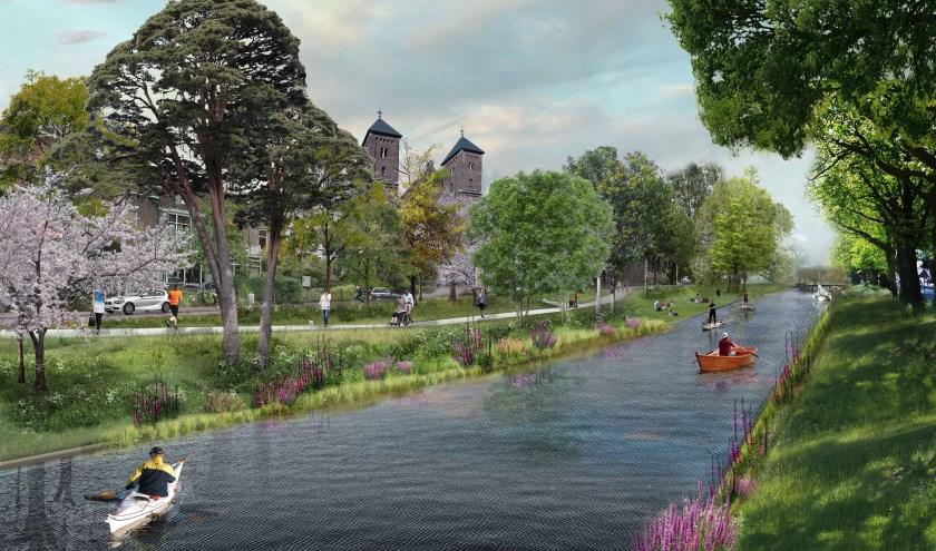 Een afbeelding van de singelgracht zoals die moet worden Bron: cu2030.nl.