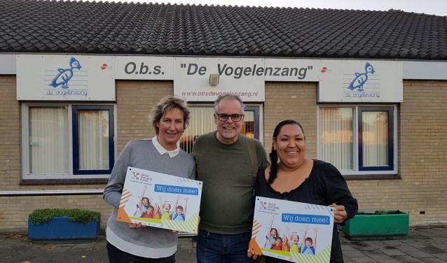 Corina Kraak (zorgcoördinator) en Burnice Trinidad (armoedebeleidsmedewerkster) nemen de bordjes van Arie Schilling van het Jeugdeducatiefonds in ontvangst.