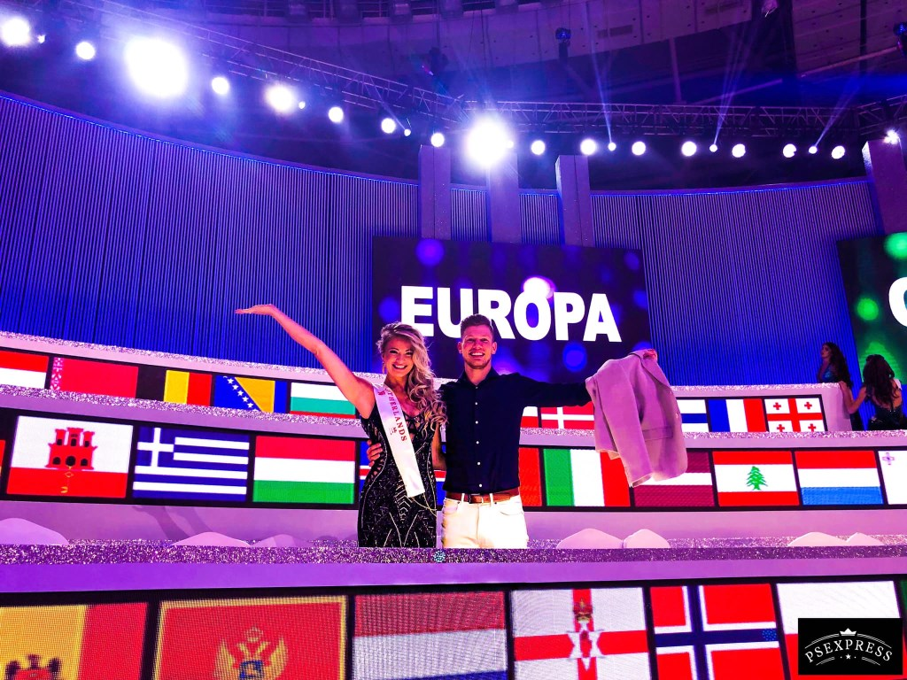 Leonie met vriend Lester na de finale. Foto: Miss World © Persgroep