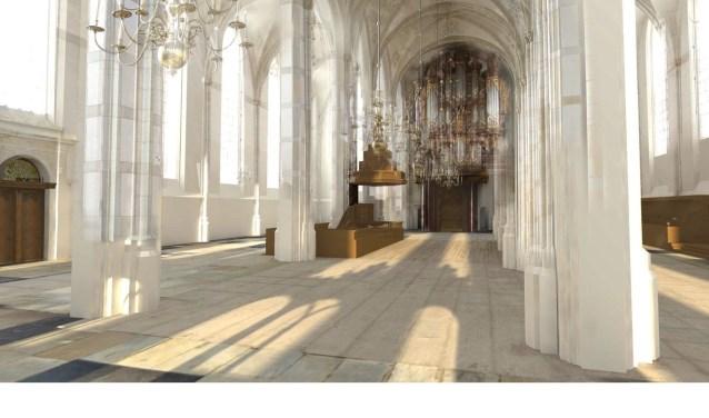 Een impressie van de herinrichting van Academiehuis | De Grote Kerk. Door uitgifte van een obligatielening komt de realisatie van de ambitieuze plannen een stap dichterbij.