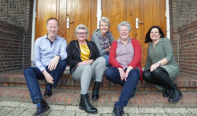 De organisatoren van de Kerst  Passion op 24 december: vlnr Harald Overeem, Marjolein Smit, Dorien de Bruin, Greet Jonkers en Lyda Veenstra.