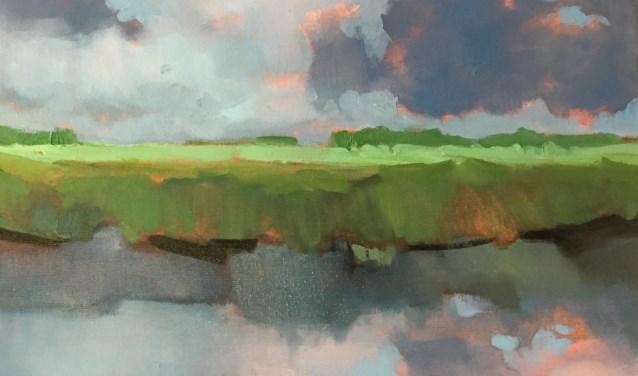 'Na de bui', een van de olieverfschilderijen van Stella Burggraaf.