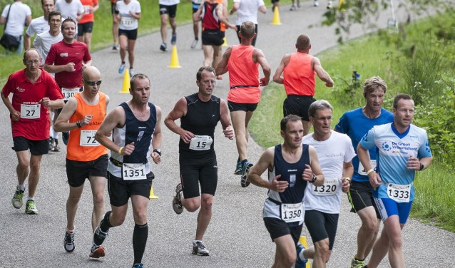 Hardlopers lopen de Rijsserberg op. Foto: Emiel Muijderman / Tubantia.