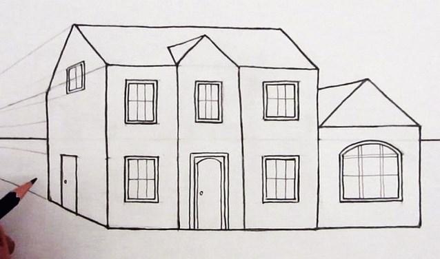 Tekening van een simpel huis