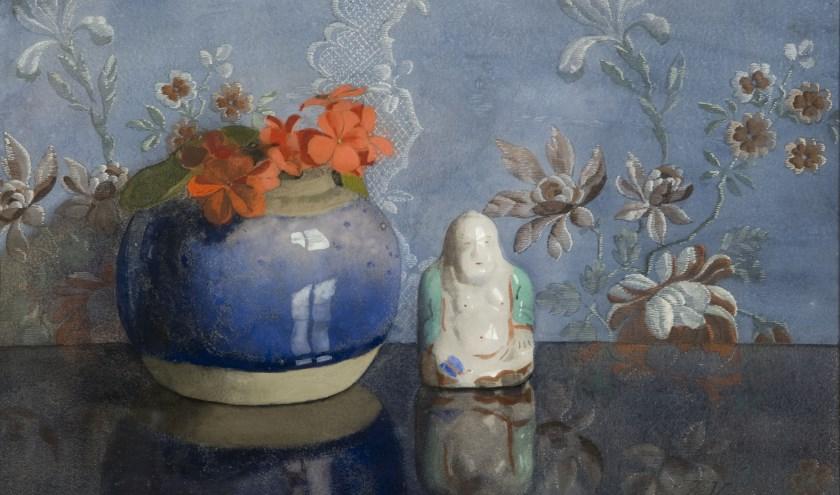 Gemberpot met Boeddhabeeldje van Jan Voerman senior. (foto:  Voerman Museum Hattem)