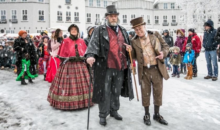 Sneeuw, kou en harde wind teisterde de Dickens Night in 2017. Foto: Jan Dijstelbloem.