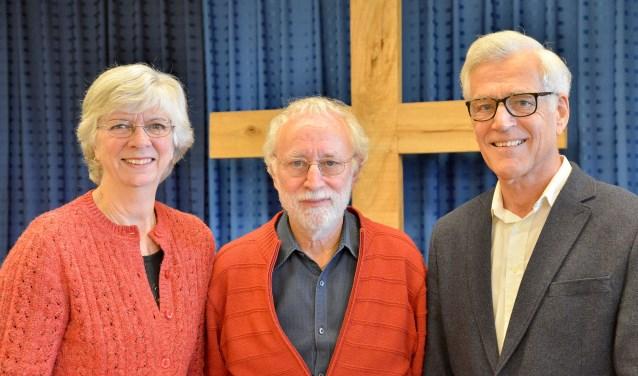 Team van oudsten van de Evangeliegemeente Sion Montfoort met Elly Snieder, Gerrit Snieder en Hans Alles