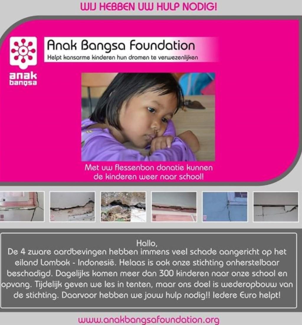 Oproep voor donatie statiegeld Foto: Stichting Anak Bangsa © Persgroep