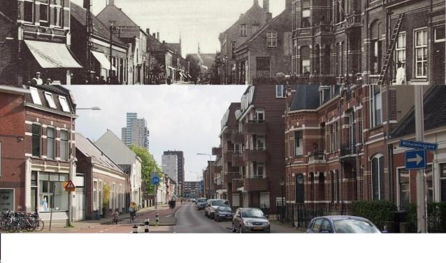 De Gasthuisstraat anno 1910 en anno 2018. Naast iedere historische foto in het boek is er een recente foto geplaatst.