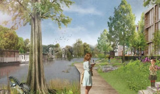 Een artist impression van het toekomstige Kruisvaartkwartier, natuurzone. Bron: gemeente Utrecht