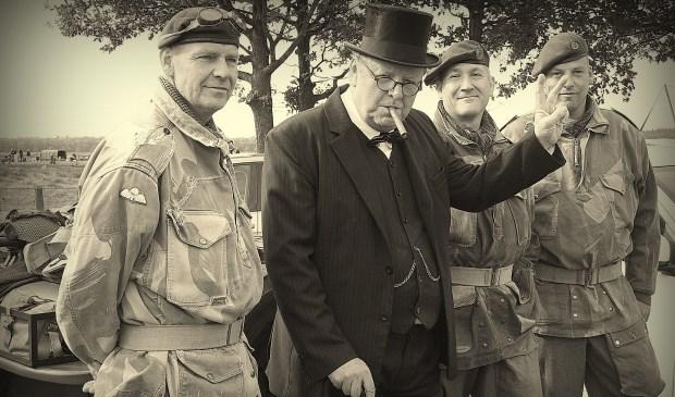 De Britse premier Sir Winston Churchill, gestalte gegeven door Rinus Verweij.