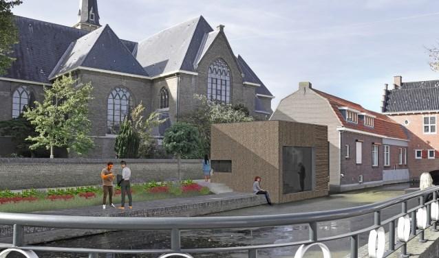 Het Oude Raadhuis van Oud-Beijerland krijgt aanbouw met eigentijds uiterlijk. De toekomstige aanblik uit het zuidoosten.