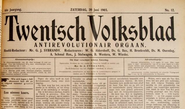In de zomer van 1903 wordt de redactie van het Twentsch Volksblad verplaatst naar Almelo. Foto: Marcel Mentink, Rijnbrink Nijverdal
